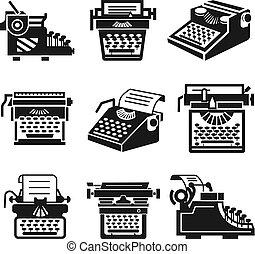 Typewriter icon set, simple style - Typewriter icon set. ...