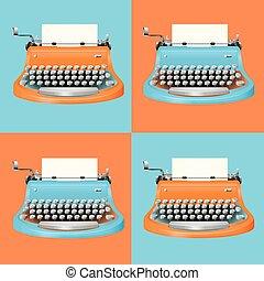 Typewriter in blue and orange