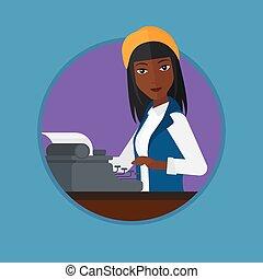typewriter., journalist, arbeitende , retro