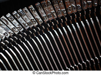 Typewriter Keys - A Closeup image of the inverted keys or...
