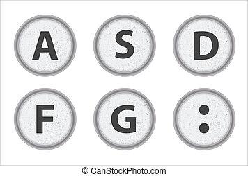 Typewriter Keys ASDFG