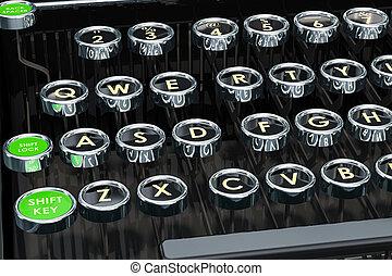 Typewriter, keys closeup. 3D rendering