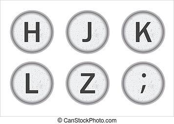 Typewriter Keys HJKLZ