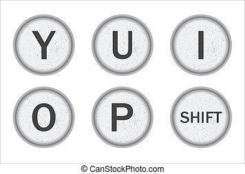 Typewriter Keys YUIOP