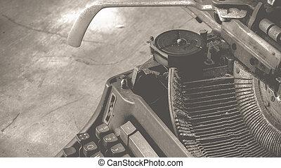 Typewriter on wood