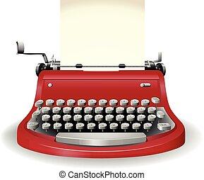 Typewriter - Red typewriter in simple design