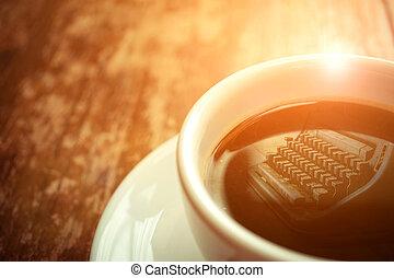 Typewriter reflection on coffee