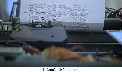 Typewriter robot drawing symbols picture at technology...