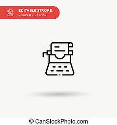 Typewriter Simple vector icon. Illustration symbol design template for web mobile UI element. Perfect color modern pictogram on editable stroke. Typewriter icons for your business project