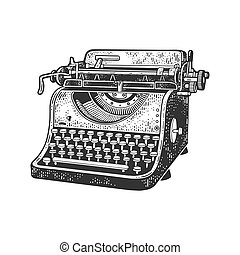 typewriter sketch engraving vector illustration. T-shirt apparel print design. Scratch board imitation. Black and white hand drawn image.