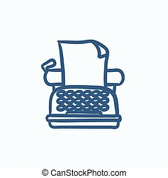 Typewriter sketch icon.