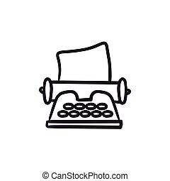 Typewriter sketch icon. - Typewriter vector sketch icon ...