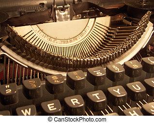 Typewriter - Close up detail of a portable typewriter,...