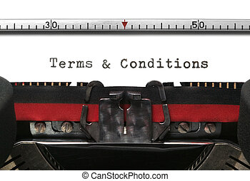 Terms & Conditions on an old typewriter in genuine typescript.