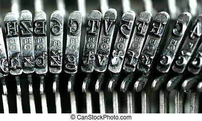 Typewriter - Typing. Metal types in the typewriter