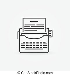 Typewriter vector icon in thin line style