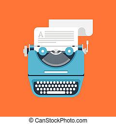 Typewriter - Vector illustration of flat vintage typewriter ...