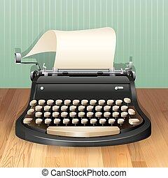 Typewriter with blank sheet of paper