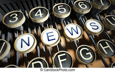 Typewriter with News buttons, vintage style