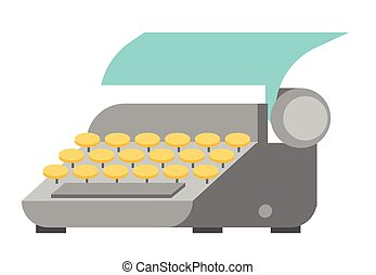 Typewriter with paper sheet vector illustration.