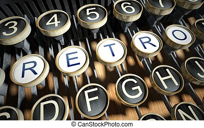 Typewriter with Retro buttons, vintage