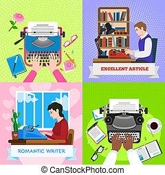 Typewriter work banner set, flat style