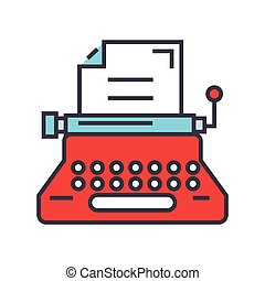 Typewriter, writer, writing text, copywriting concept. Line vector icon. Editable stroke. Flat linear illustration isolated on white background