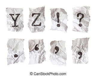 Typewritten alphabets on crumpled paper. Each alphabet taken...
