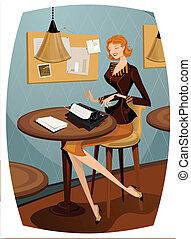typewritting, mulher, retro