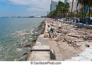 typhoon damage - MANILA - SEPTEMBER 30: Remainings after the...