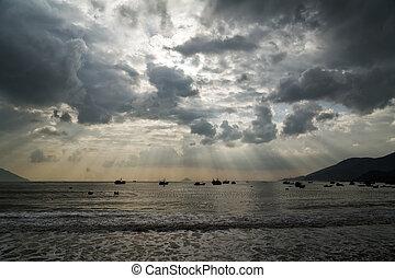 typhoon, tornado season, sailboat damaged by Hurricane in bay Nha Trang, Vietnam