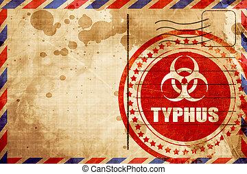 typhus, concetto, fondo, grunge rosso, francobollo, su, un, posta aerea, backgr