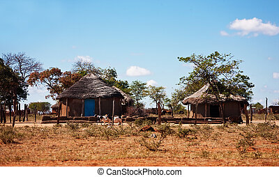 typical household from Southern Africa, Botswana, South Africa, rondaveles with thatched roof