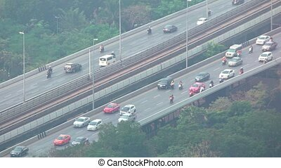 Typical Afternoon Traffic on a Major Highway in Asia. Video FullHD
