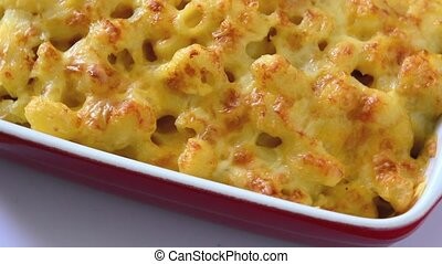 Typical American macaroni and cheese footage isolated on...