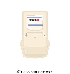 Typical analog electric meter, household measuring device vector illustration isolated on a white background