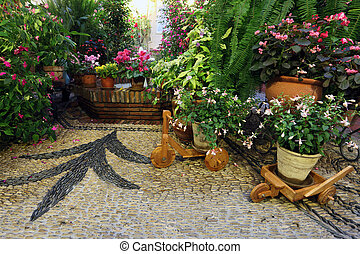 Typical andalusian patio in Cordoba, Andalusia Spain
