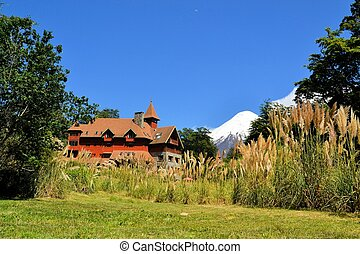 Typical architecture of a house in Puerto Varas, llanquihue Lake, Patagonia, Chile