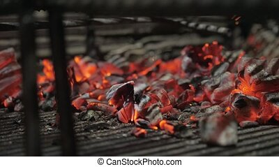 Typical Argentinian barbecue or asado. Burning wood in the...