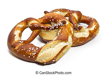 Typical bavarian pretzels on white background