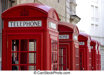 red telephone booths - Typical British red telephone booths...