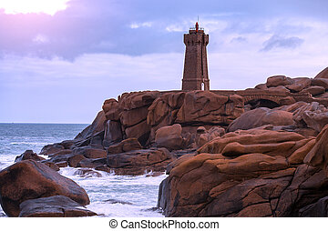 typical Brittany coast in the north of France - lighthouse ...
