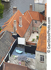 Typical Bruges Buildings From High Angle