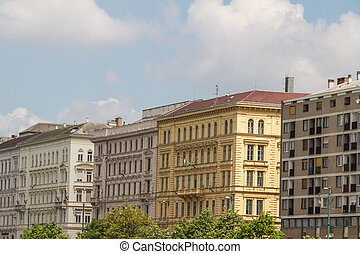 typical buildings 19th-century in Buda Castle district of Budapest