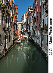 Typical Canal, Bridge and Historical Buildings in Venice, Italy