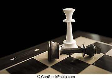 typical chess game checkmate - 3d illustration of a chess...