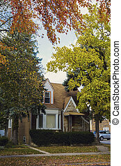 Typical Chicago house in autumn scenery