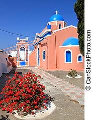 Typical church, Oia, Santorini, Greece