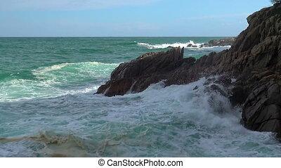 Typical coastal of Spanish Costa Brava, near the small...