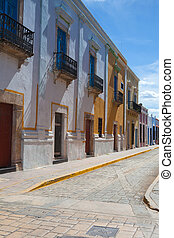 Typical colonial street in Campeche, Mexico. Historic Fortified Town of Campeche - UNESCO World Heritage Site.